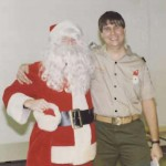 Roger paired with Santa at cub scout meeting